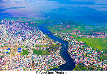 View of the city from a bird's flight on Manila