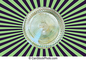 Bottom of a glass bottle on vitage background