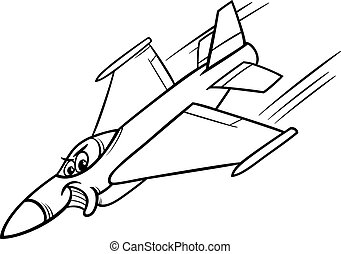 jet fighter plane coloring page - Black and White Cartoon...