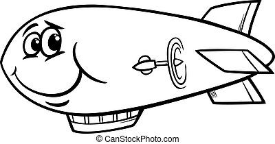 zeppelin airship cartoon coloring page - Black and White...