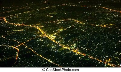View of the night lights of the big city aerial view