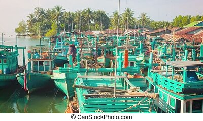 Wooden fishing boats parked Sihanoukville, Cambodia - High...