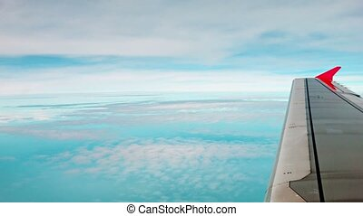 View from the window of a modern passenger aircraft - High...