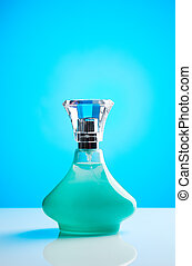 Green bottle of perfume for women with blue gradient...