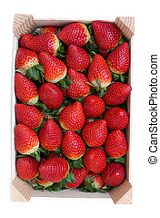 fresh strawberries in a wooden box - Strawberries in a...