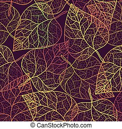 Autumn transparent leaves pattern background. Colored art...