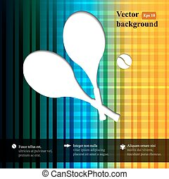 Tennis background with two tennis rackets and tennis ball. Geometric floral retro background with place for your text.