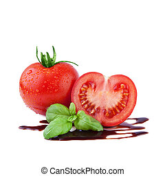 Tomato with Basil and Balsamic Vinegar - Tomato with Basil...