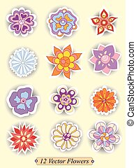 Set of colorful cute isolated flowers