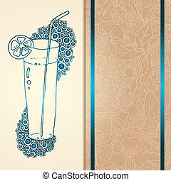 Template card with glass and bubbles, vector illustration....