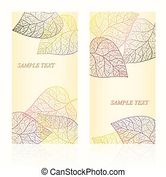 Abstract template card with autumn leaves and your text for...