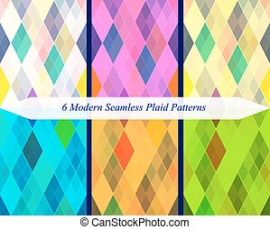 Set of six seamless modern plaid patterns.