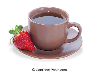 Cup of tea with strawberries on saucer