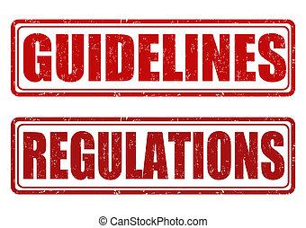regulamentos, selos, Diretrizes