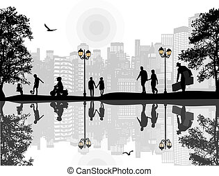 beautiful landscape and people silhouette
