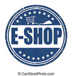 E-shop stamp - E-shop grunge rubber stamp on white, vector...