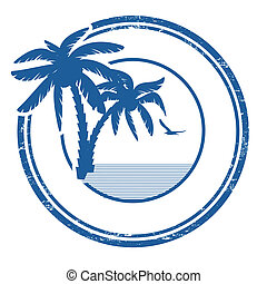Tropical stamp - Tropical grunge rubber stamp with palm and...