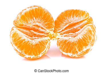 close up of tangerine isolated on white