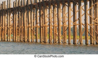 High definition video - Pillars of the old wooden bridge. Burma, Mandalay, U Bein bridge