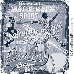 baseball longball hit - baseball sport vector for shirt...