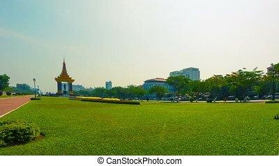 The town square with a monument in the city center Phnom...