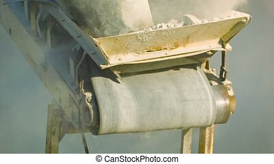Working mechanism of the old stone crusher close up - High...