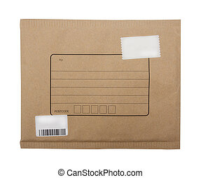 brown envelope with blank postage stamps