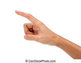 hand touching virtual screen