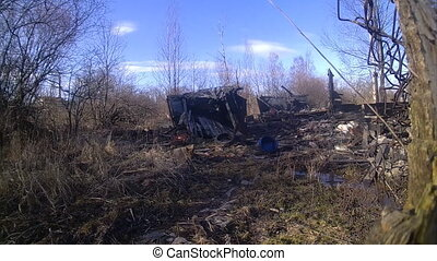 cottage after a fire, everything burned down