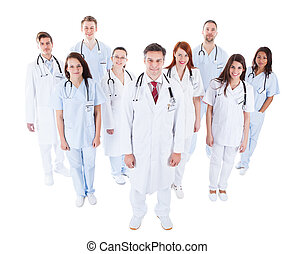 Large diverse group of medical staff in uniform - Large...