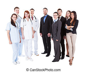 Large ground of doctors and managers over white background