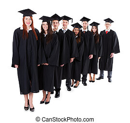 Graduate students standing in row Isolated on white