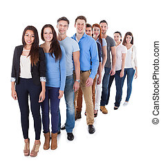 Diverse group of people standing in row Isolated on white