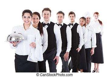 grande, grupo, Camareros, camareras, posición, fila
