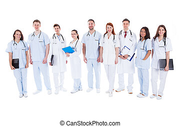 Large group of doctors and nurses in uniform - Large diverse...