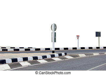 Road junction - Road intersections with signs placed on a...