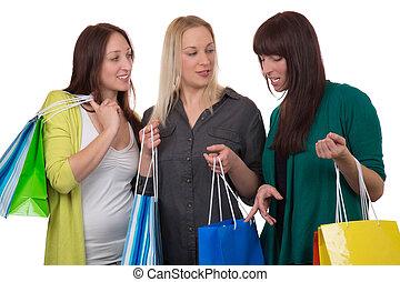 Bolsas, sobre, compras, Hablar, joven, aislado, su, Plano de fondo, grupo, blanco, compra, mujeres