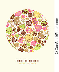 Colorful cookies circle decor pattern background - Vector...