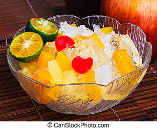 Shaved Ice dessert and Fresh fruits - Shaved Ice dessert...