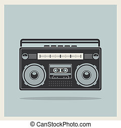 Classic 80s boombox on Retro Background Vector - Classic 80s...