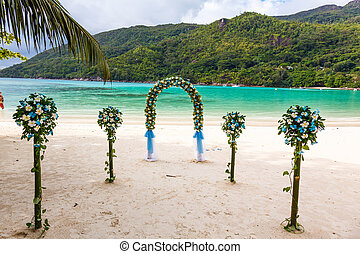 wedding ceremony on the beach, the details of design,...