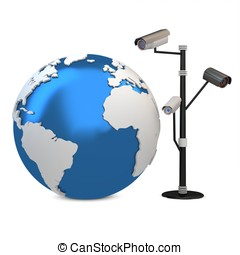 3d global video surveillance cameras on white background