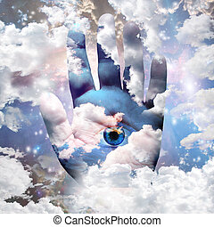 Clouds hand and eye