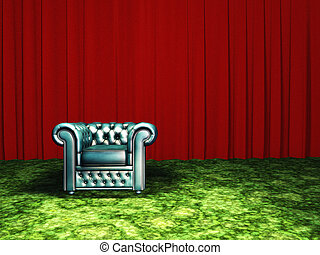 Green Chair with red curtain