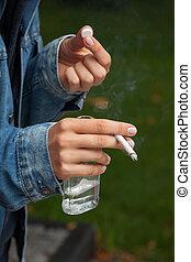 Estudiante, adicto, drogas