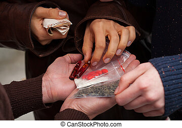 Hard drug dealers - Dealers with money and tabs, heroine and...