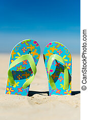 Flip flops at the beach - Pair colorful flip flops at the...