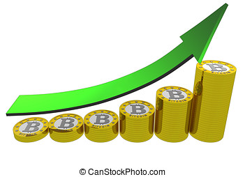 bitcoins evolution up - A graph showing bitcoin revenues...