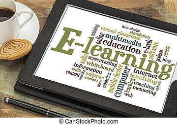 e-learning word cloud - online education concept -...