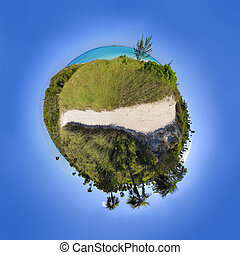 Tropical sphere landscape - Tropical beach paradise in a...